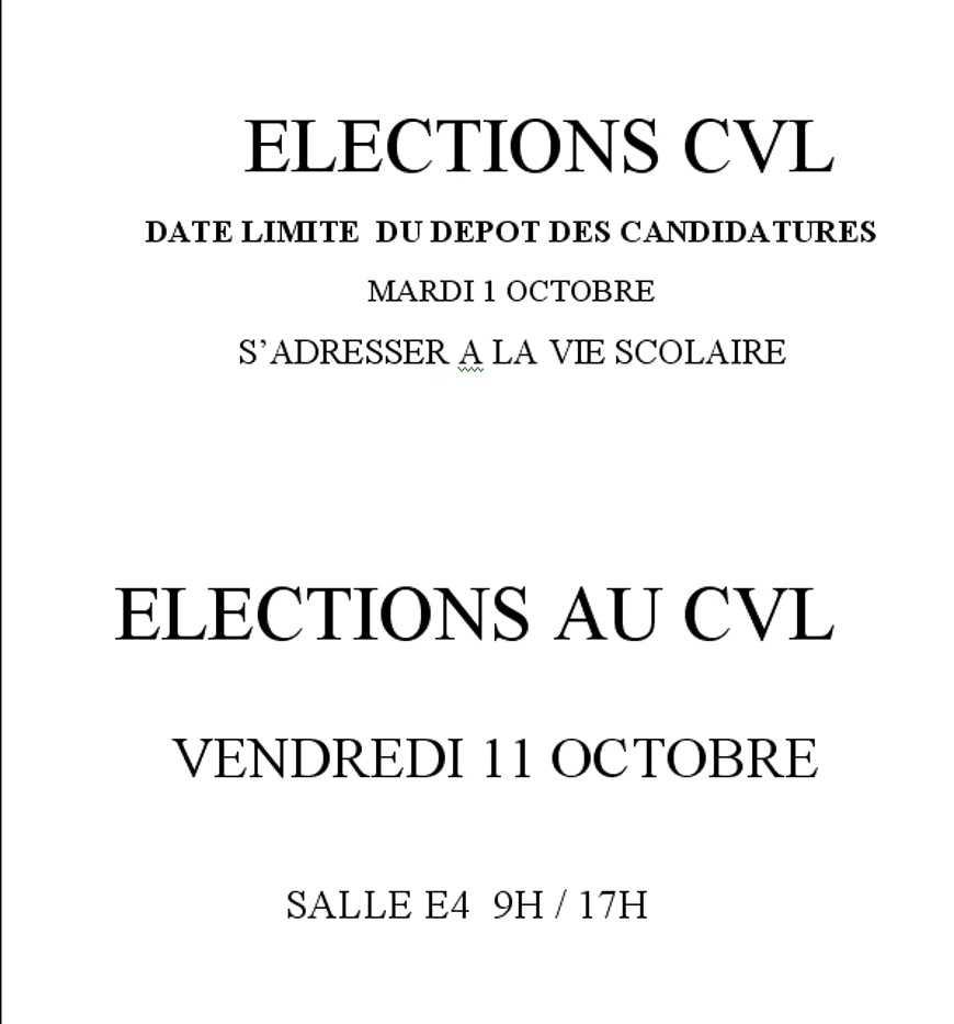 Elections au CVL (Conseil de la vie Lycéenne) 0