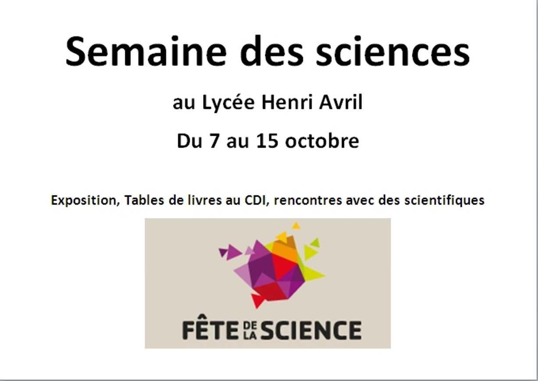Semaine des sciences au lycée du 7 au 15 octobre 0