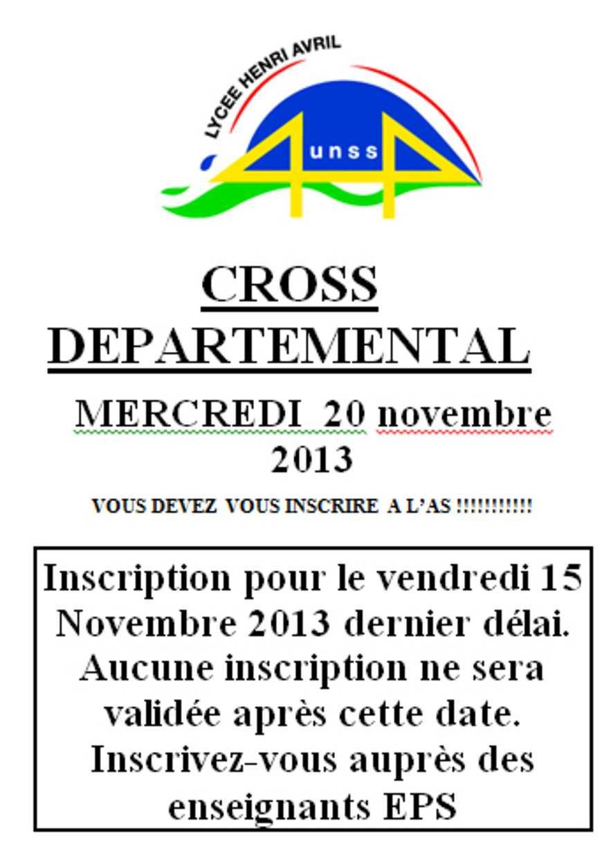 Cross départemental : mercredi 20 novembre 0