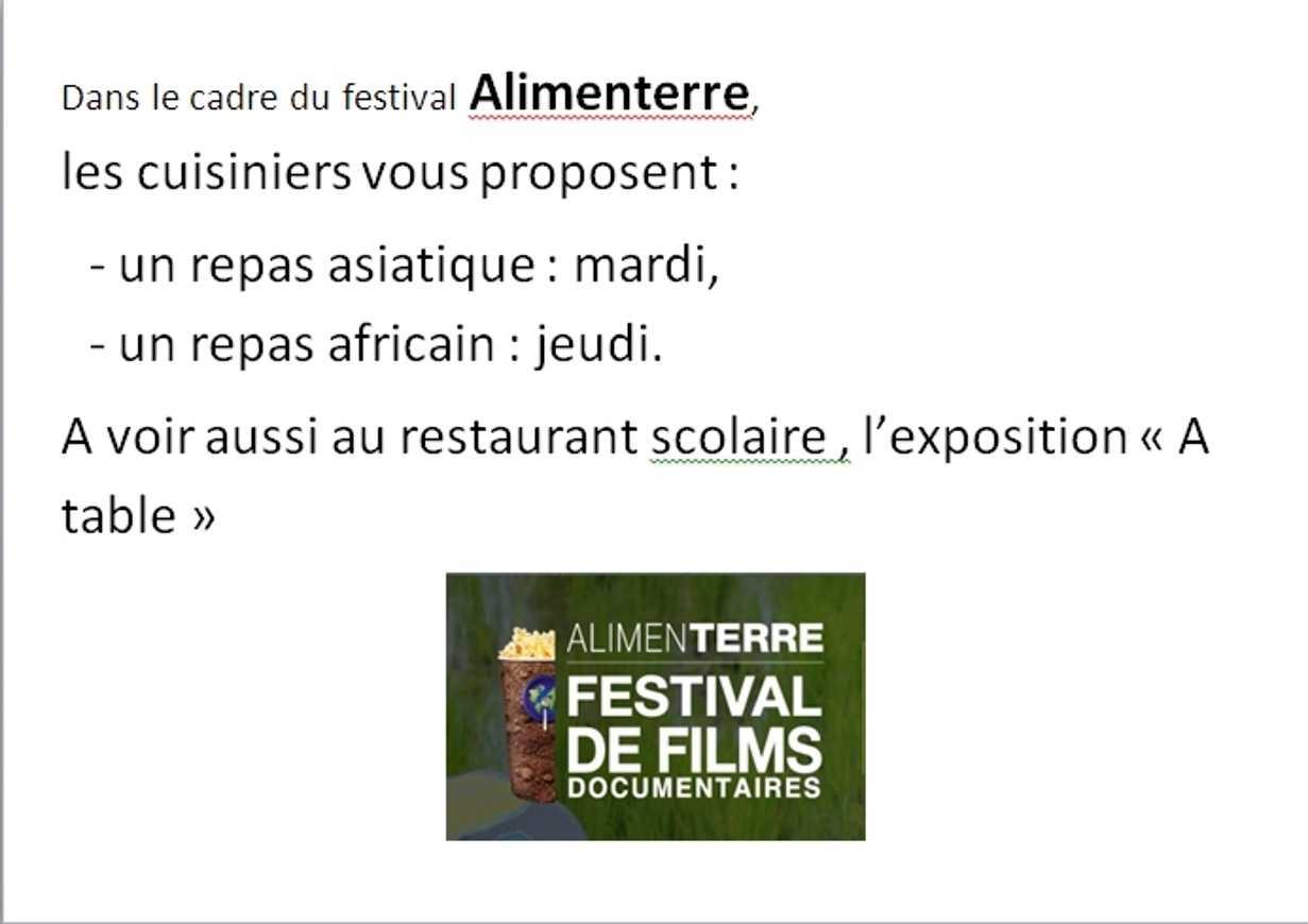 Festival Alimenterre au lycée 0
