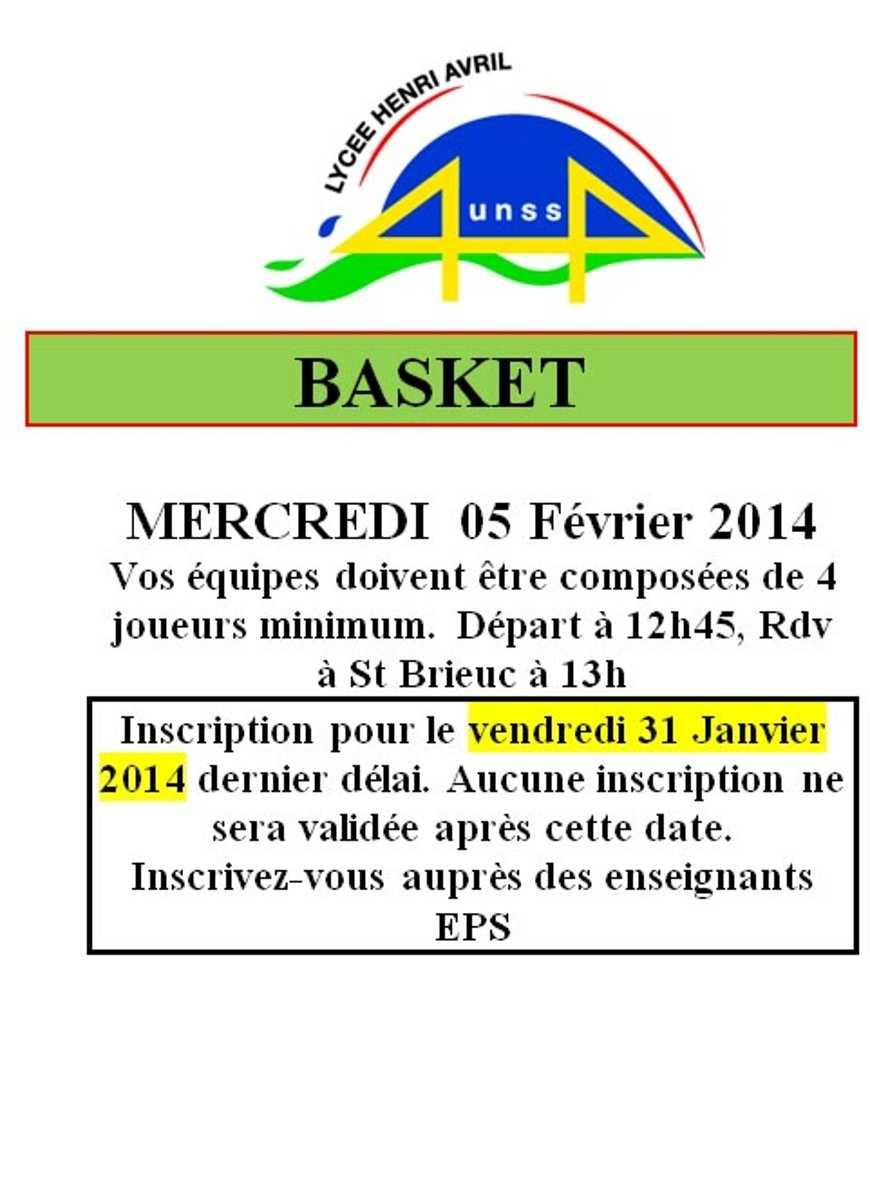 UNSS : Basket : 5 février 0