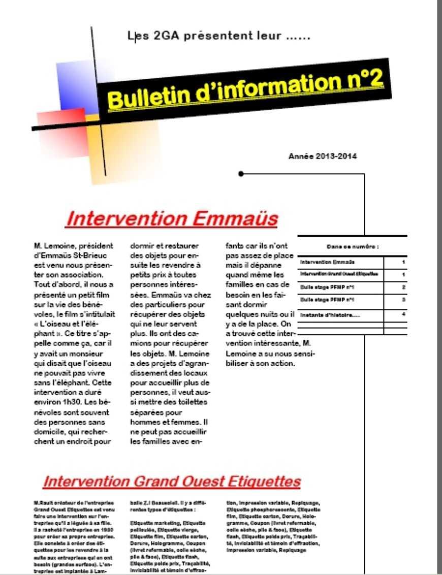 Bulletin d''information n°2 des 2GAC 0