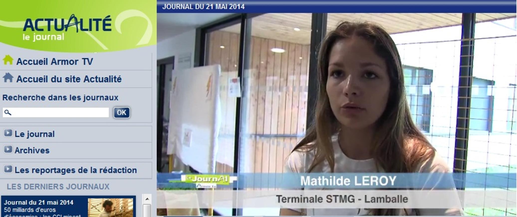 """Concours régional """"une entreprise dans votre lycée"""" (reportage d''Armor TV) 0"""