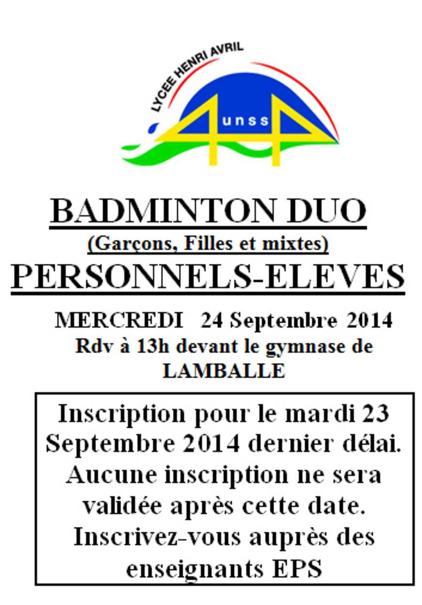 Badminton en duo le 24 septembre 0