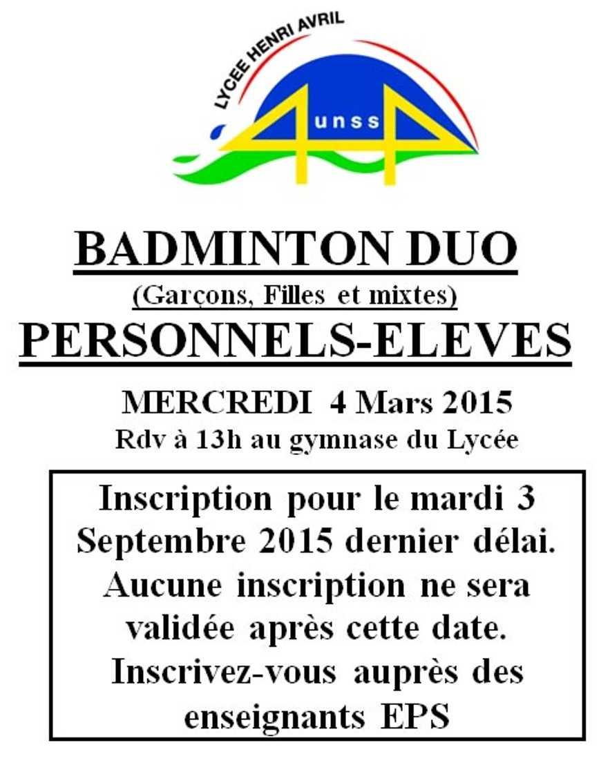 Badminton duo le 4 mars (UNSS) 0