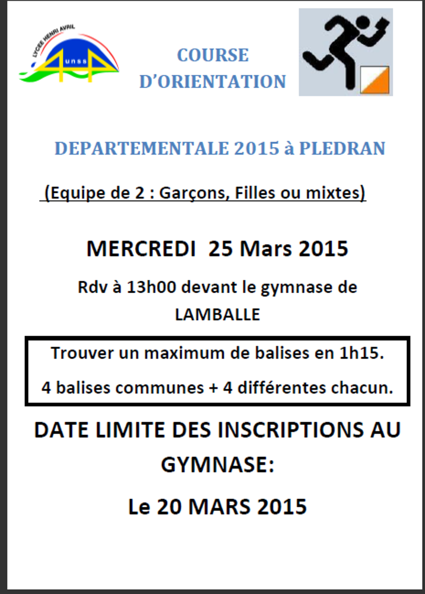 COURSE D'ORIENTATION DEPARTEMENTALE : 25 mars (AS) 0