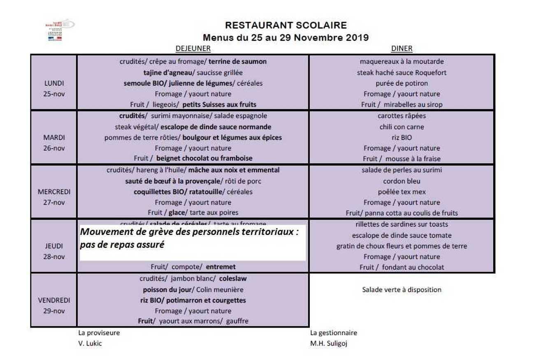 Les menus de novembre menunovembre