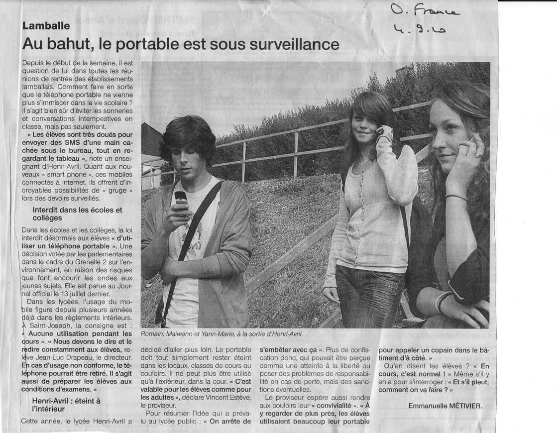 Le portable au lycée : Ouest France en parle. portable