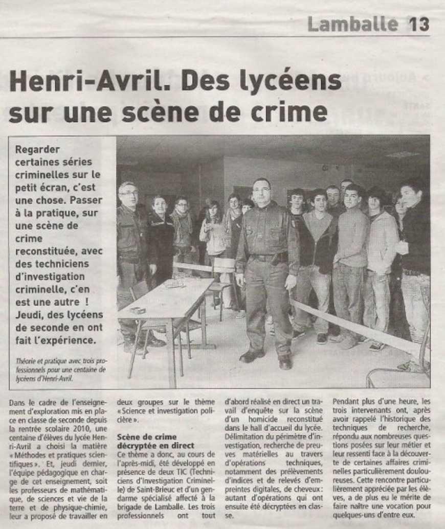 """""""Des lycéens sur une scène de crime"""" dans le Télégramme 0"""