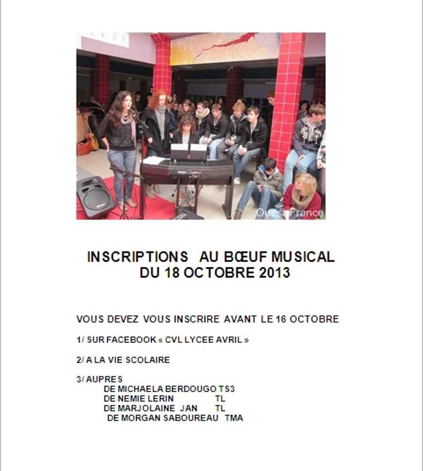 Boeuf musical du 18 octobre : inscriptions 0