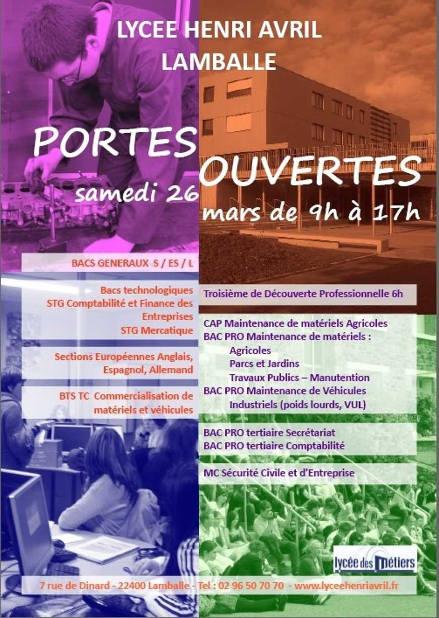 Portes ouvertes au lycée le 26 mars : l''affiche 0