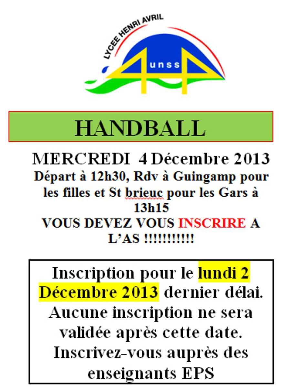 UNSS : Handball le 4 décembre 0