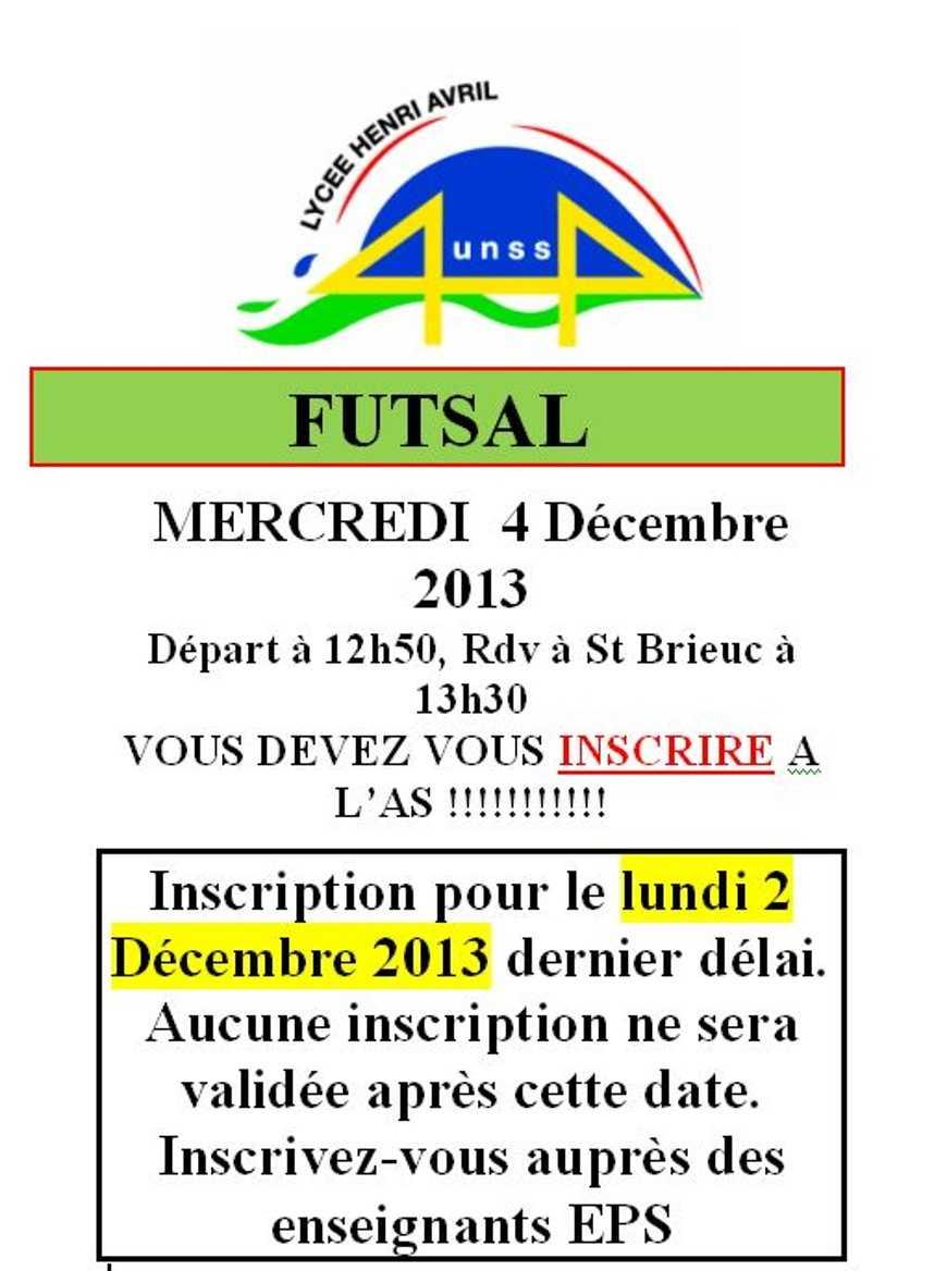 UNSS : Futsal le 4 décembre 0