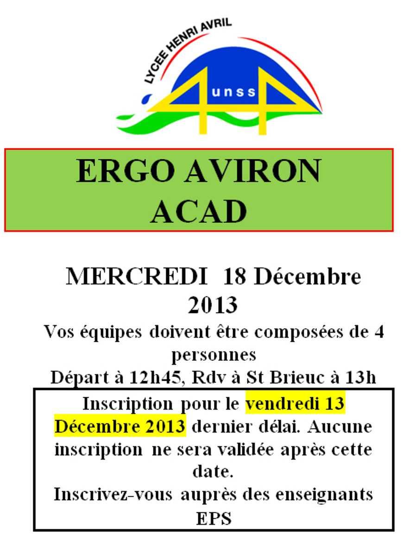 UNSS : Ergo aviron académique le 18 décembre 0