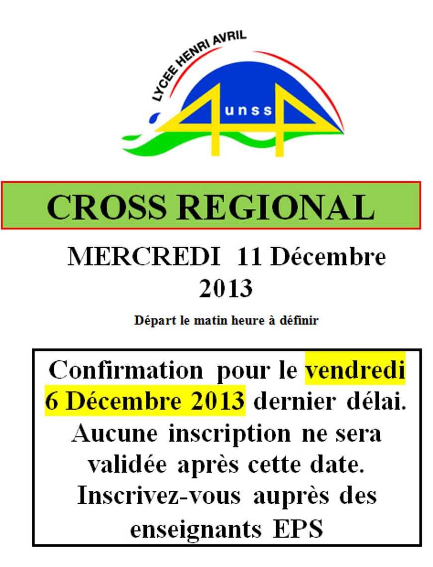 UNSS : cross régional le 11 décembre 0