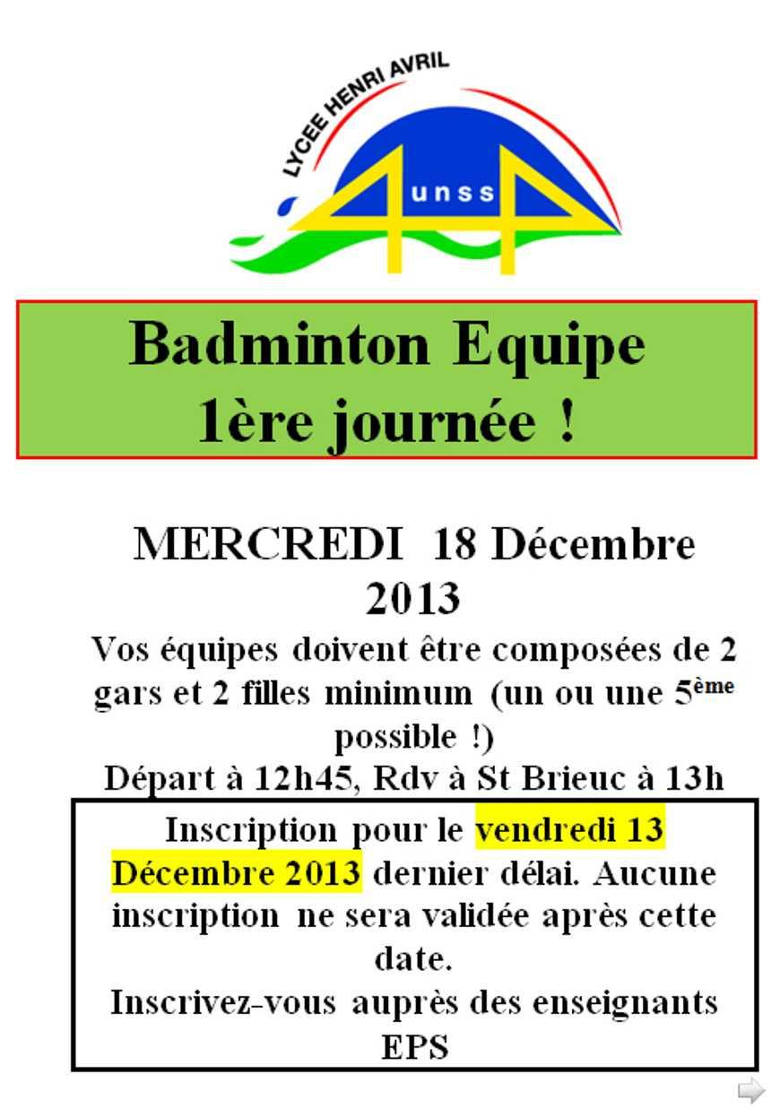 UNSS : badminton équipe le 18 décembre 0