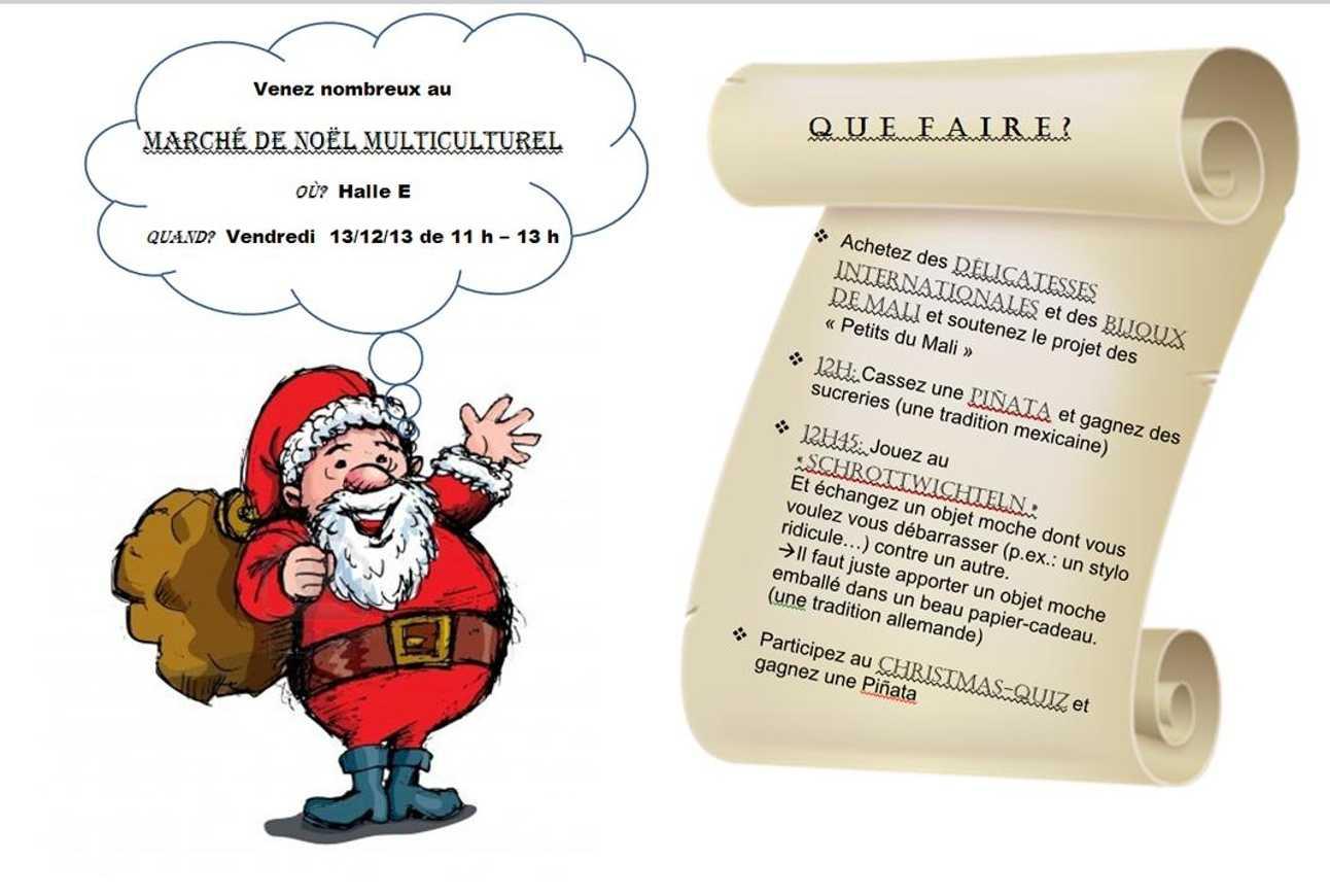 Marché de Noel multiculturel, vendredi 13 décembre, Hall E 0