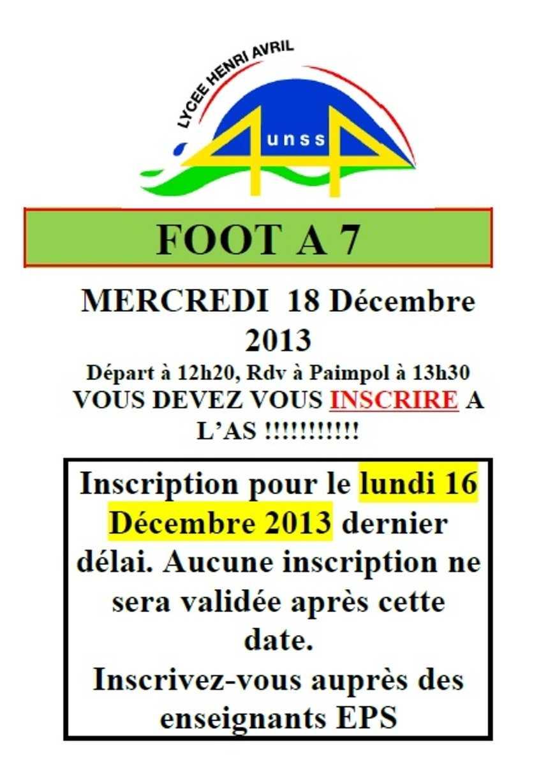 Foot à 7 le 18 décembre 0