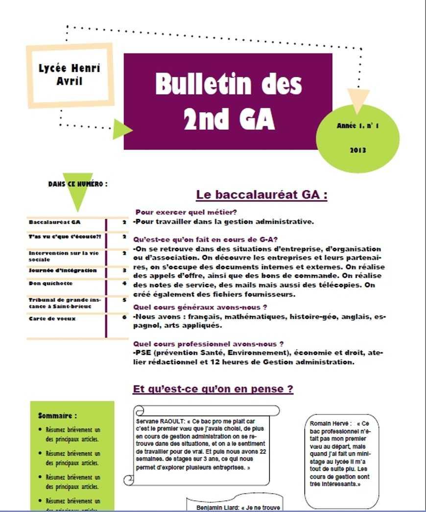 Bulletin des 2GA; n°1, année 1!!! Bravo à toutes et tous 0