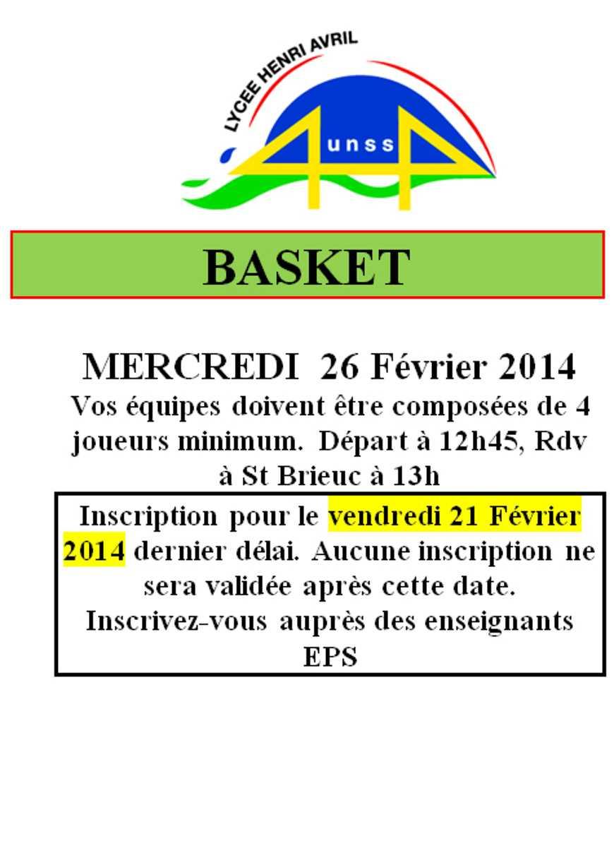 UNSS : Basket : le 26 février 0