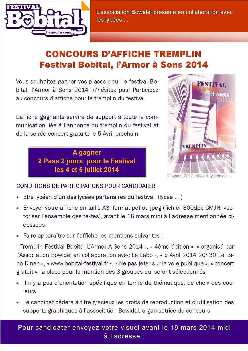 Concours d''affiche tremplin, festival Bobital afficheconcoursaffiche