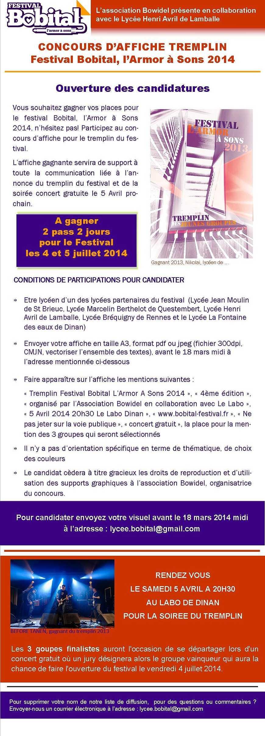 Concours d''affiche tremplin, festival Bobital 0