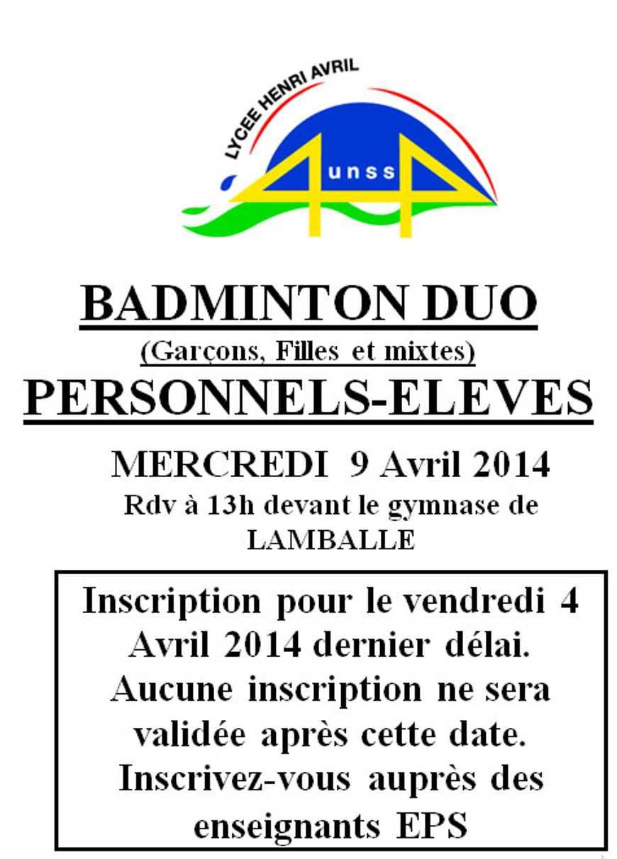 Badminton duo : mercredi 9 avril 0
