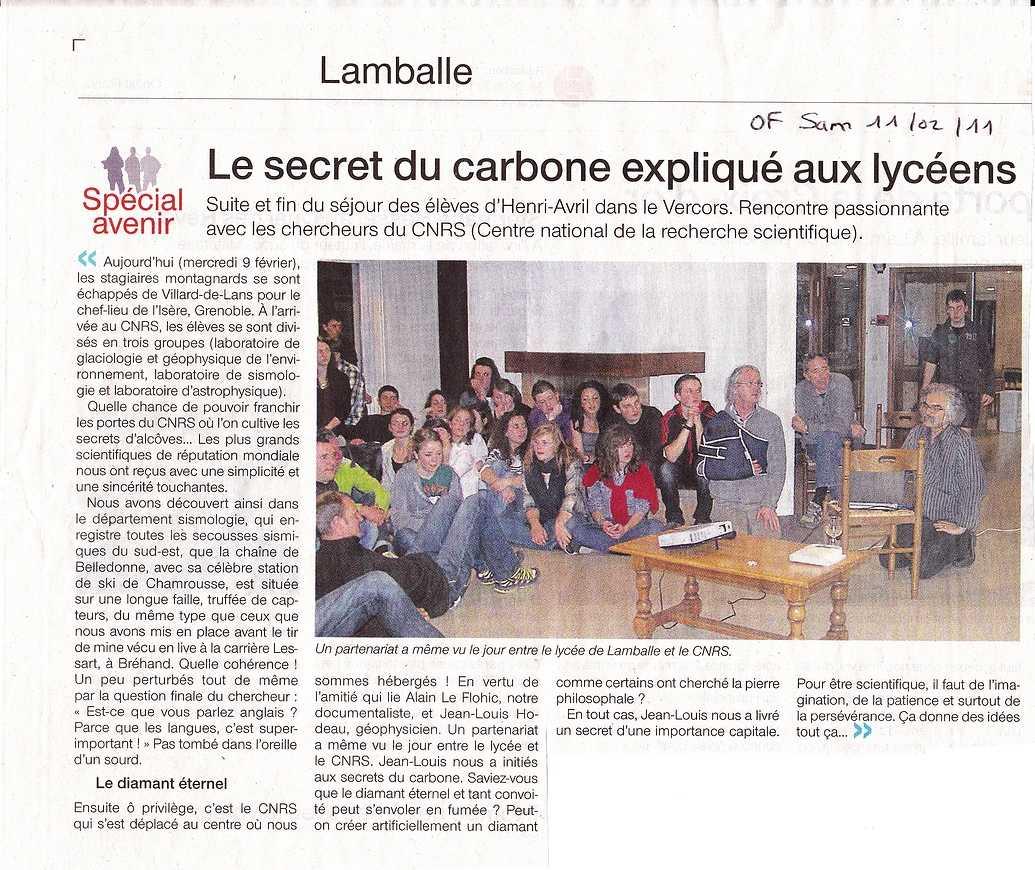 Le secret du carbone expliqué aux élèves articleof