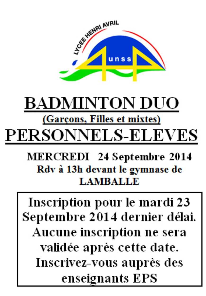 Badminton en duo le 24 septembre 0