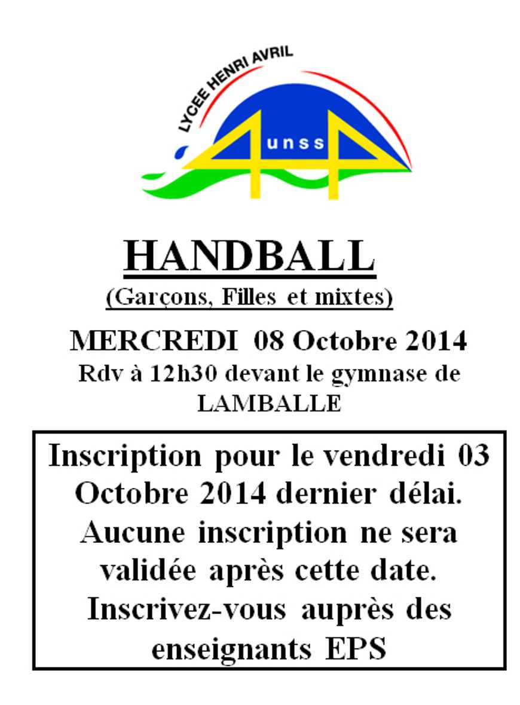 Association sportive : hand ball le 8 octobre 0