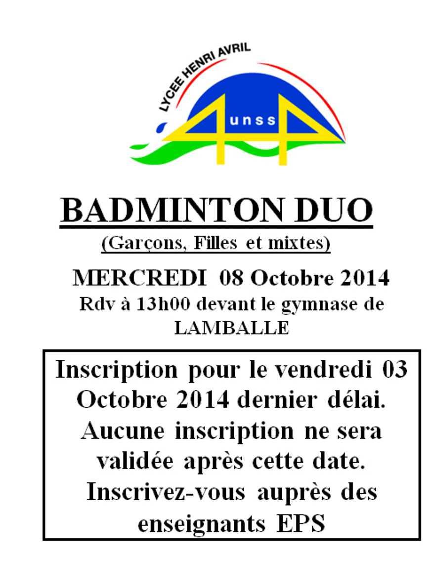 AS : Bad Duo le 8 octobre 0