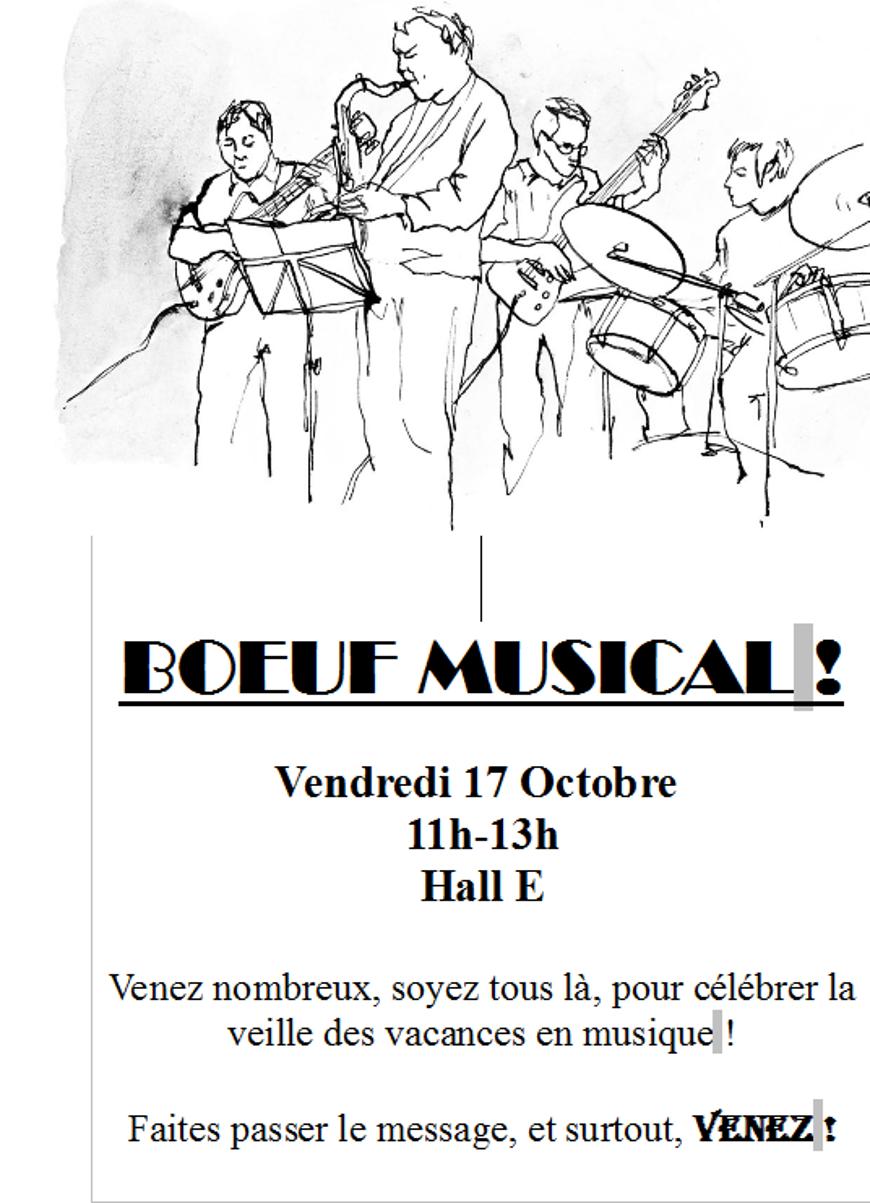 Boeuf musical vendredi 17 octobre 11h-13h 0