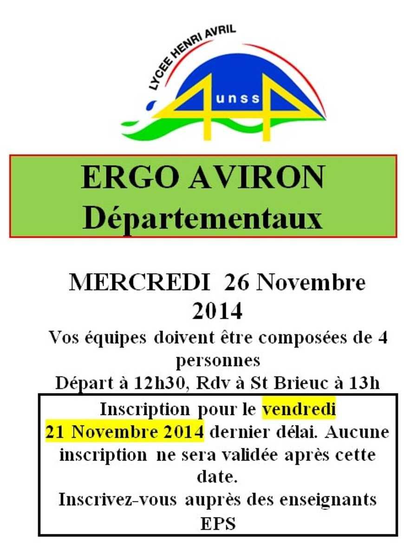Ergo aviron : 26 novembre (AS) 0