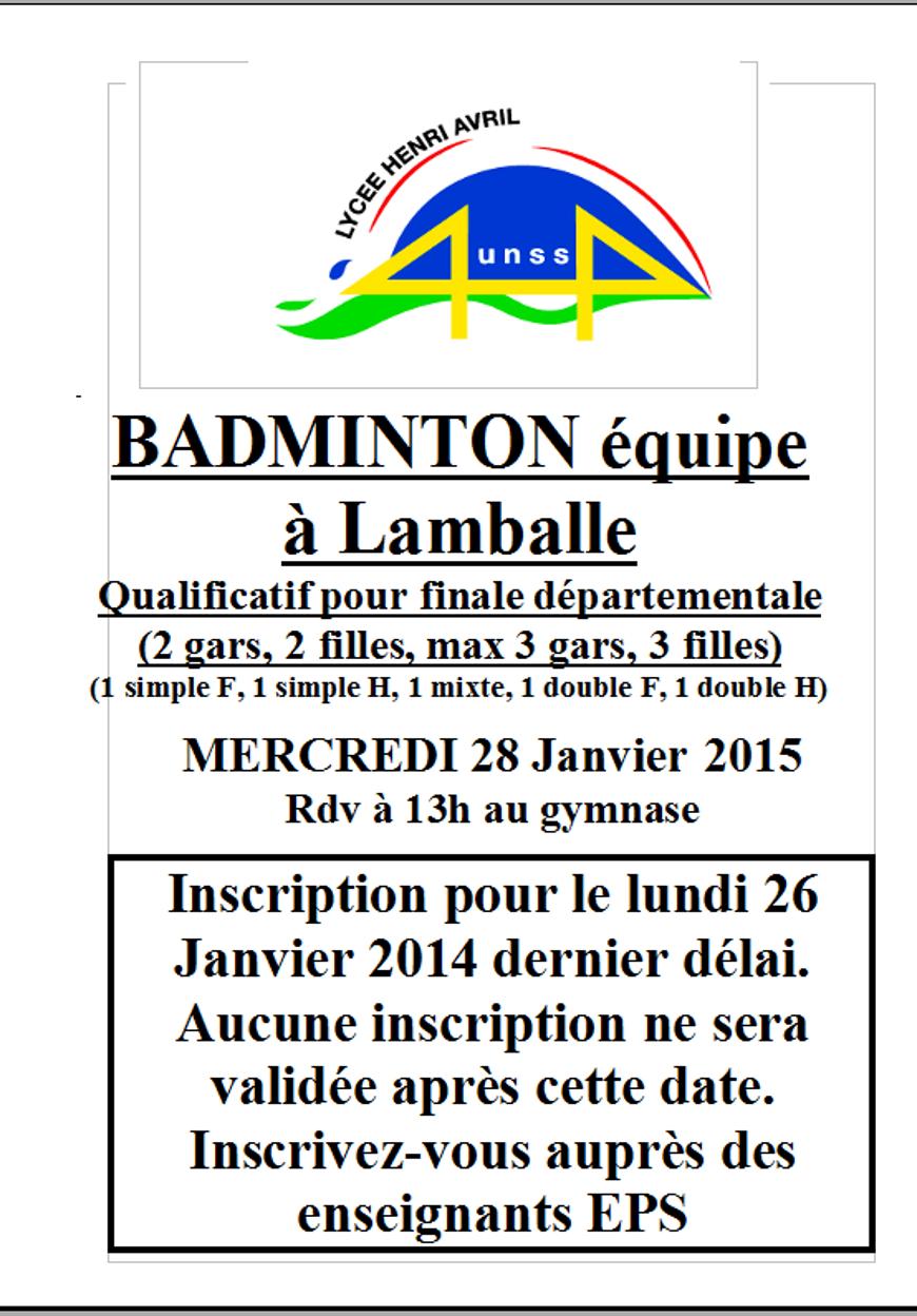 Badminton en équipe le 28 janvier (UNSS) 0