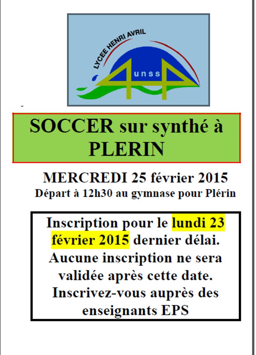 Soccer sur synthé le 25 février (UNSS) 0