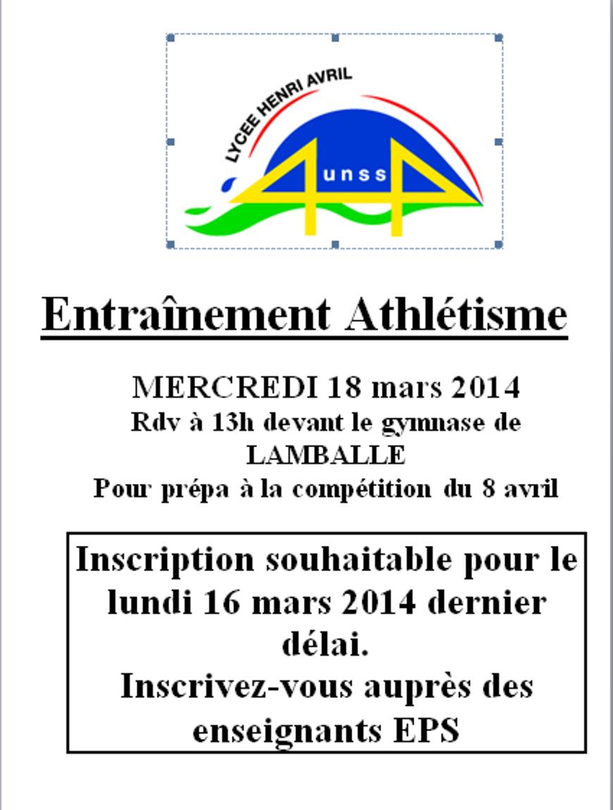 Entraînement athlétisme le 18 mars 0