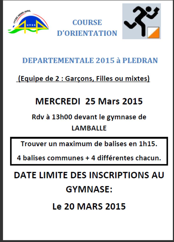COURSE D'ORIENTATION DEPARTEMENTALE : 25 mars (AS) 0