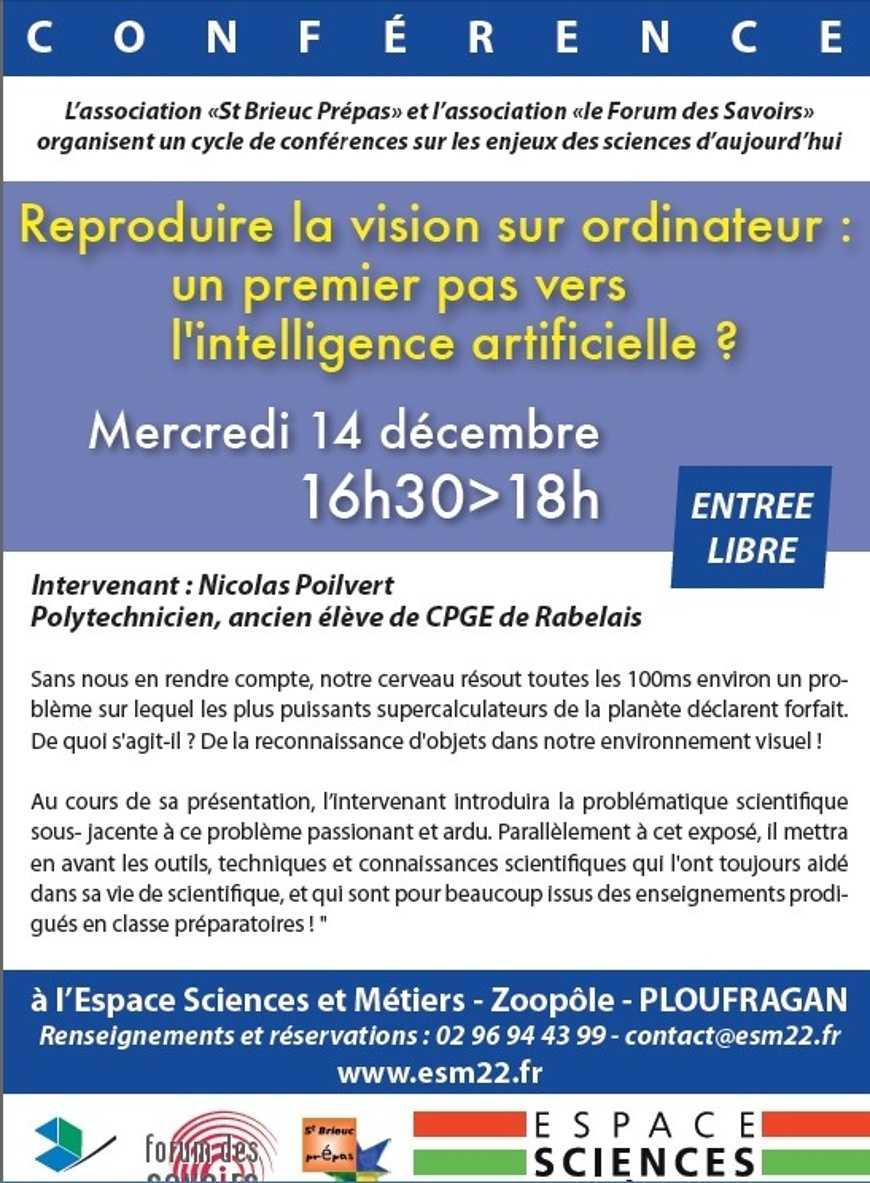 """""""Reproduire la vision sur ordinateur"""" : conférence de Nicolas Poilvert 0"""