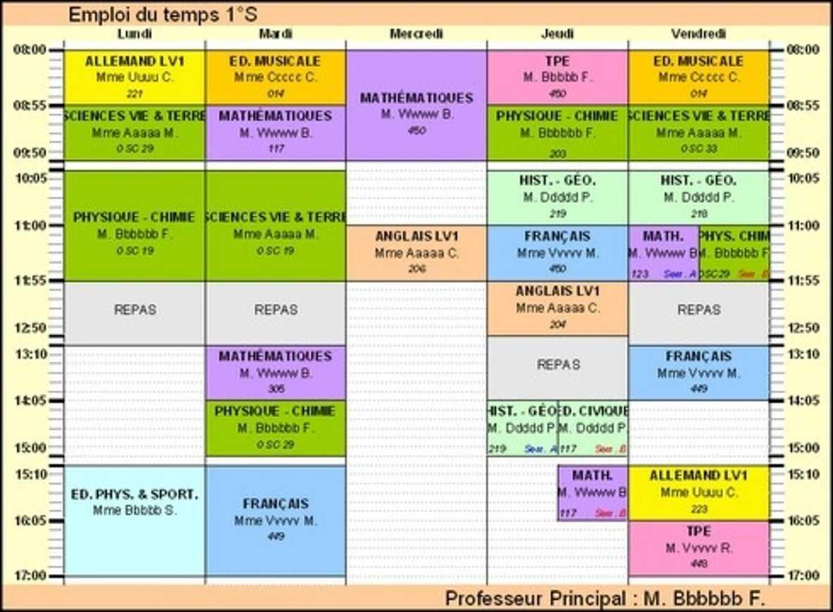 Modification des horaires de cours de l''établissement 0