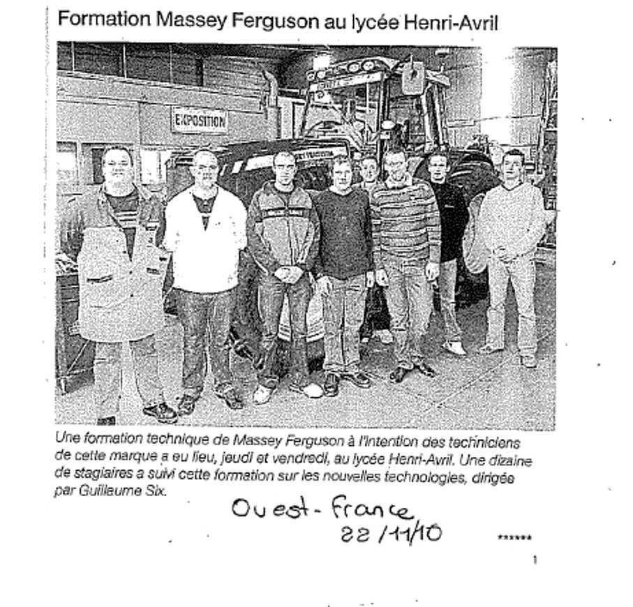 Formation Massey Fergusson au Lycée Henri Avril masseyfergusson
